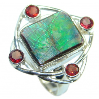 Authentic Canadian Fire Ammolite Sterling Silver ring size 7