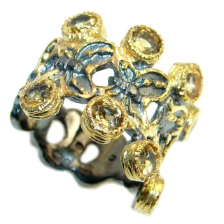 Floral Design Natural Citrine Gold plated over Sterling Silver handmade ring size 7