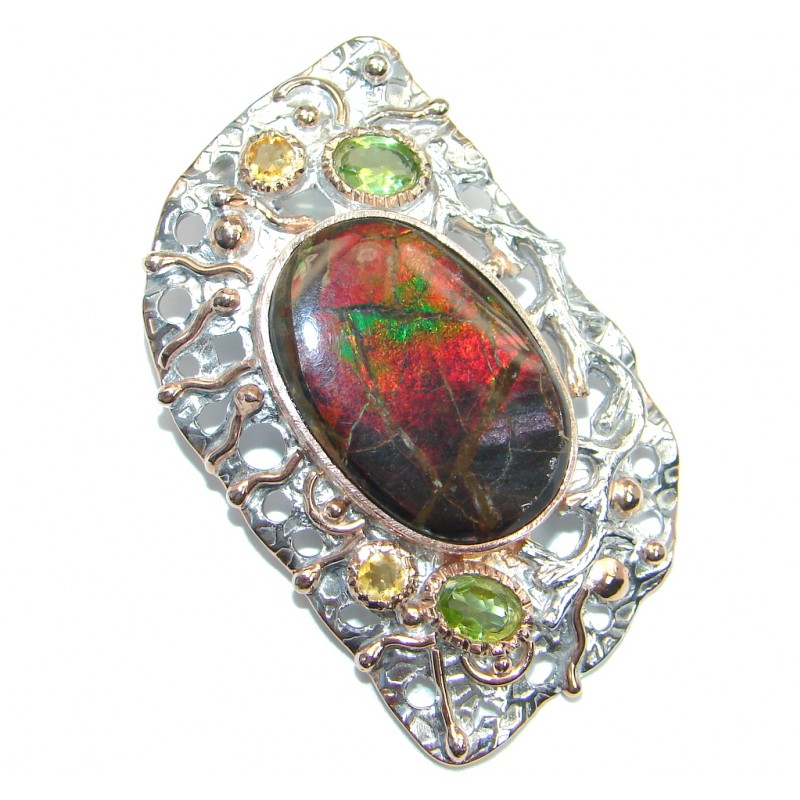 Huge of the kind genuine Ammolite Rose Gold plated over Sterling Silver handmade Pendant