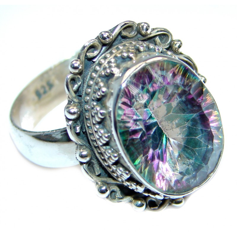 Amazing Rainbow Topaz Sterling Silver handmade Ring size 9
