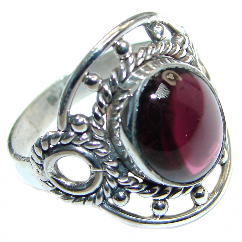 Garnet 925 Sterling Silver Ring Size 8