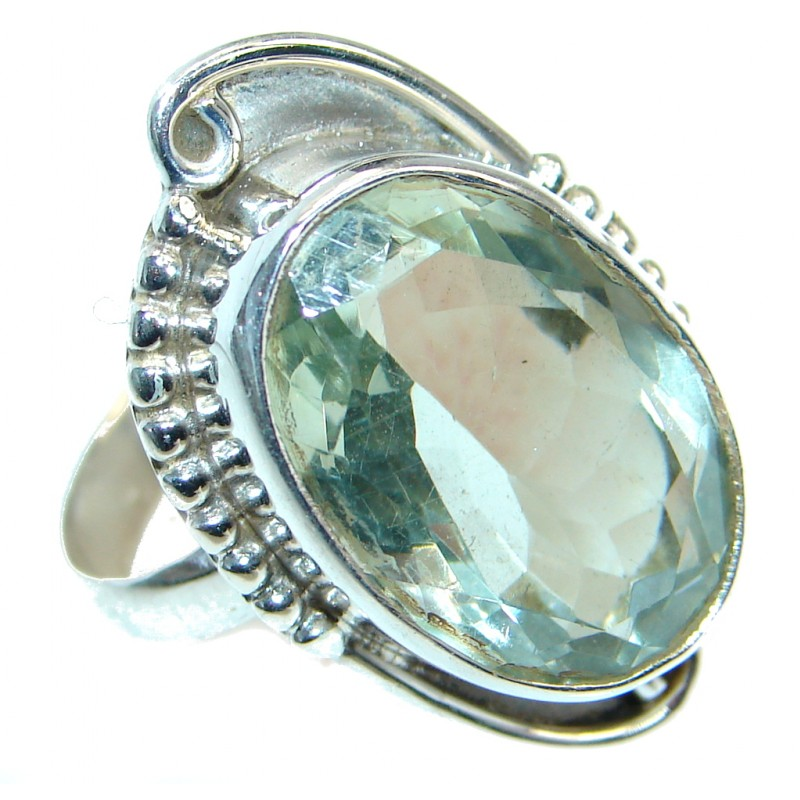 Simple green Quartz Sterling Silver handmade Ring s. 10 1/4