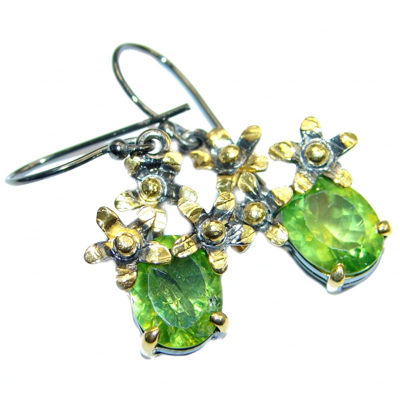 Genuine Pearl Peridot gold plated over Sterling Silver handamde earrings