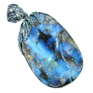 41.9 grams! Beautiful Natural Australian Boulder Opal Oxidized Sterling Silver handmade Pendant
