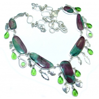 Fantastic quality Ruby in Zoisite Peridot Sterling Silver handmade Necklace