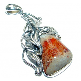 Authentic Mexican Fire Opal oxidized Sterling Silver handmade Pendant