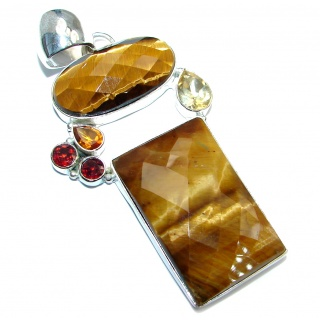 Great Design Golden Tigers Eye Sterling Silver handmade Pendant