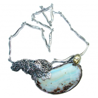 100% Natural Earth Mined Opaque Australian 170 ct Boulder Opal oxidized Sterling Silver handcrafted necklace