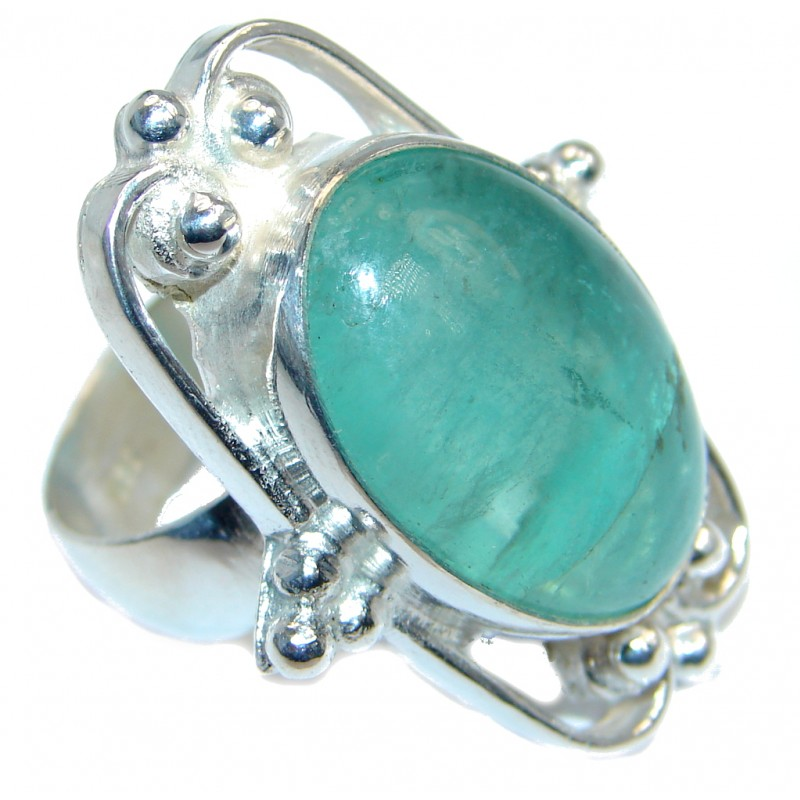 Exotic Natural Apatite Silver Tone ring; s. 9