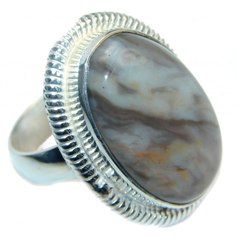 Exotic Natural Apatite Silver Tone ring; s. 10 1/4