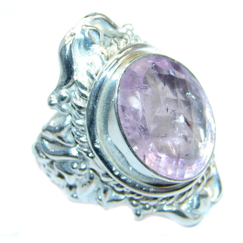 Vintage Look Amethyst Silver Tone handmade ring size 9