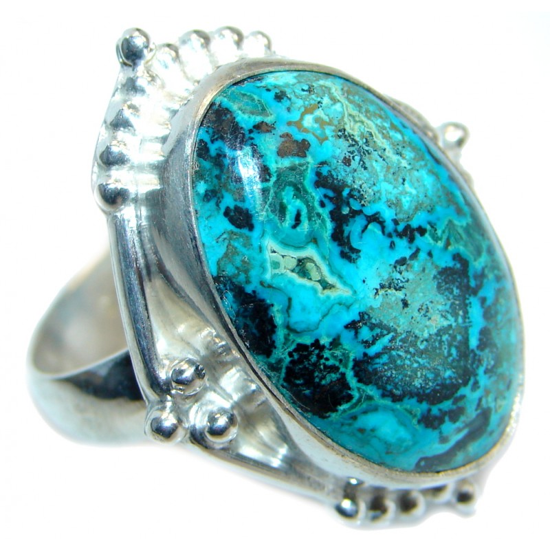 Good quality Blue Azurite Silver Tone Ring s. 12