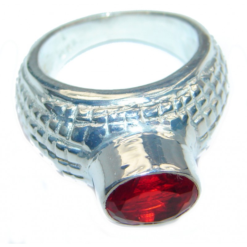 Ultra Fancy Red Cubic Zirconia Silver Tone Coctail ring s. 7 1/2