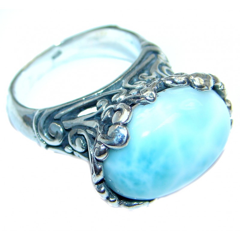 Genuine Larimar Oxidized Sterling Silver handmade Ring size 7 1/4