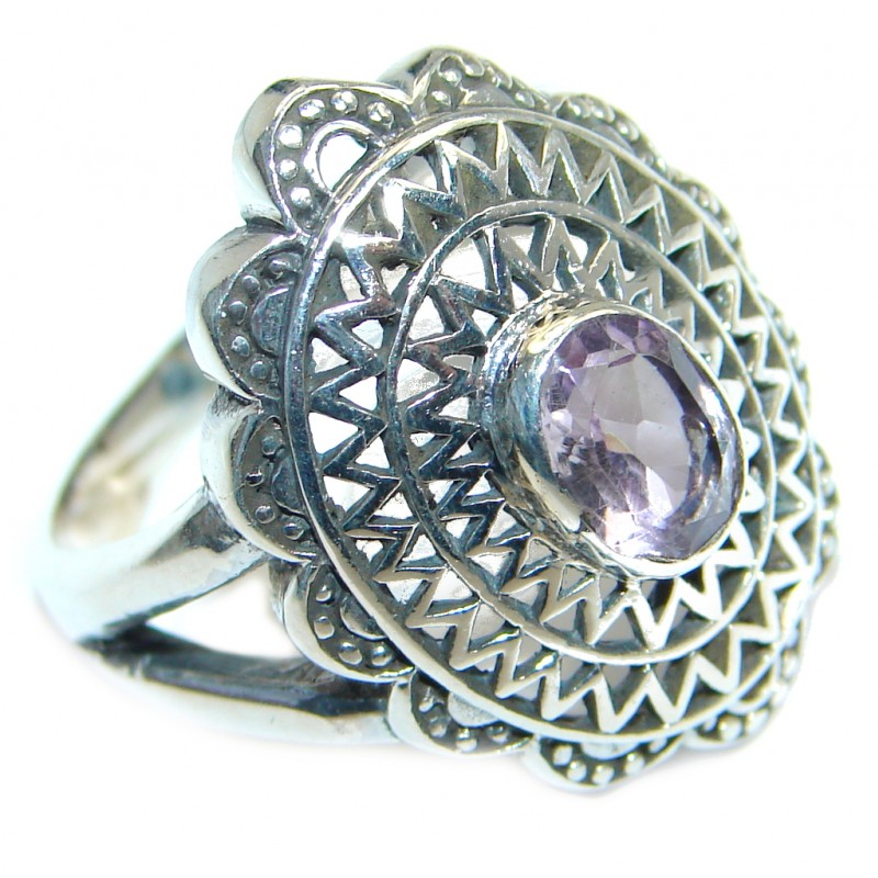 Supernova Pink Amethyst Sterling Silver handmade ring; size 9