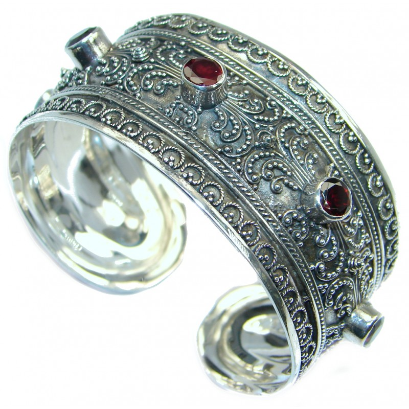 Precious Natural Rich Pink Raspberry Rhodolite Garnet 925 Sterling Silver Bangle