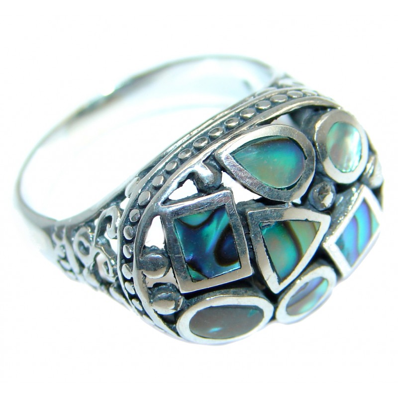 Stylish Rainbow Abalone Sterling Silver handmade ring s. 8 1/4