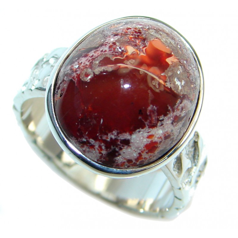 Mexican Fire Opal Oxidized Sterling Silver handmade Ring size 6 3/4
