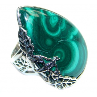 Natural AAA quality Malachite Sterling Silver handcrafted ring size adjustable