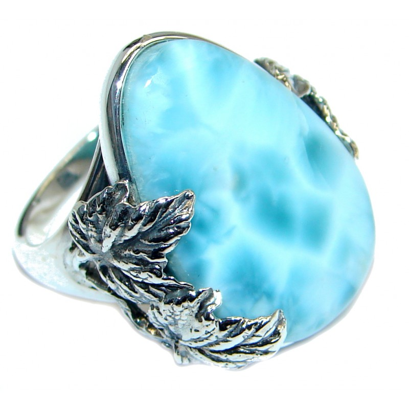 Genuine Larimar Oxidized Sterling Silver handmade Ring size 7 1/2