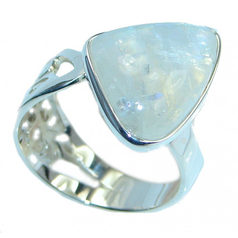 Precious Fire Moonstone Oxidized Sterling Silver handmade ring size adjustable