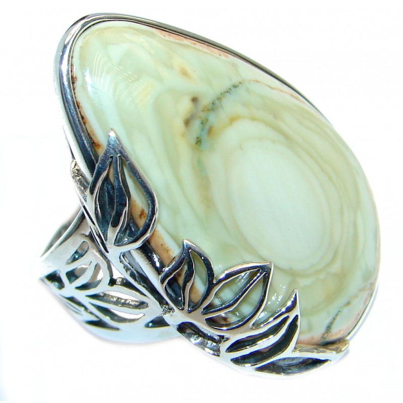 Charming Design Large authentic Imperial Jasper Sterling Silver ring size adjustable