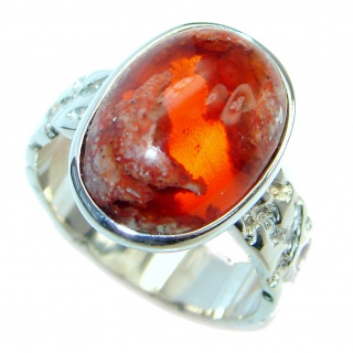 Mexican Fire Opal Oxidized Sterling Silver handmade Ring size 7 1/2