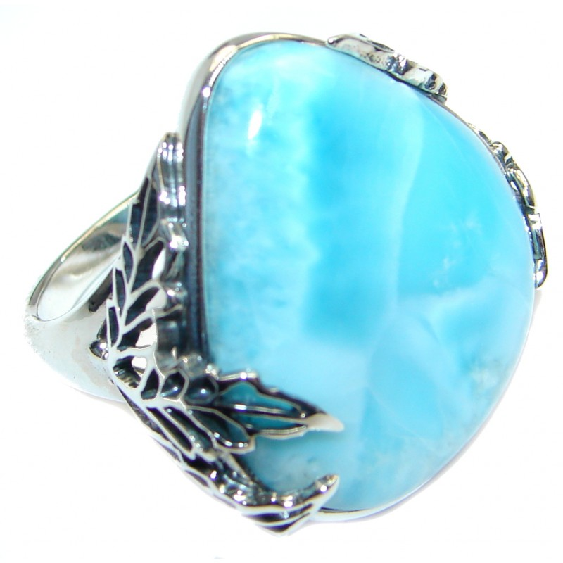 Genuine Larimar Oxidized Sterling Silver handmade Ring size 7 3/4