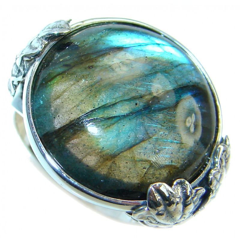 Beautiful Fire Labradorite Oxidized Sterling Silver Ring size 9
