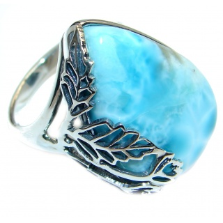 Genuine Larimar Oxidized Sterling Silver handmade Ring size 8 1/2