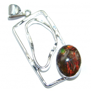 Natural Ammolite hammered Sterling Silver handmade Pendant