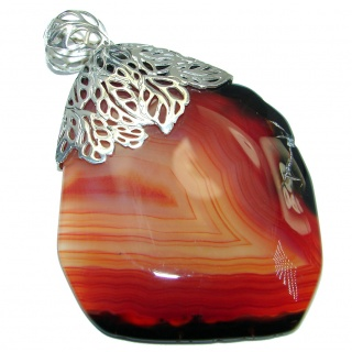 Honey Color Aura Botswana Agate Sterling Silver handmade Pendant
