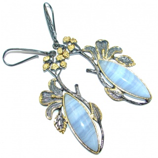 Long 3 1/8 inches long Blue Lace Agate Gold Rhodium PLated over Sterling Silver earrings