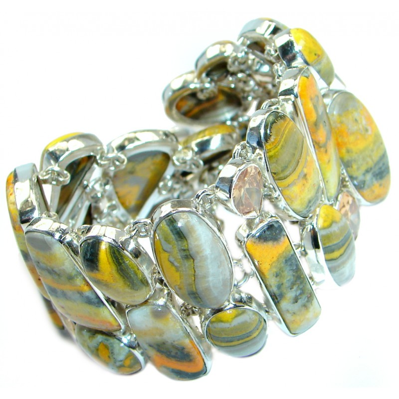 Jumbo Aura Of Beauty natural Bumble Bee Jasper Sterling Silver handmade bracelet