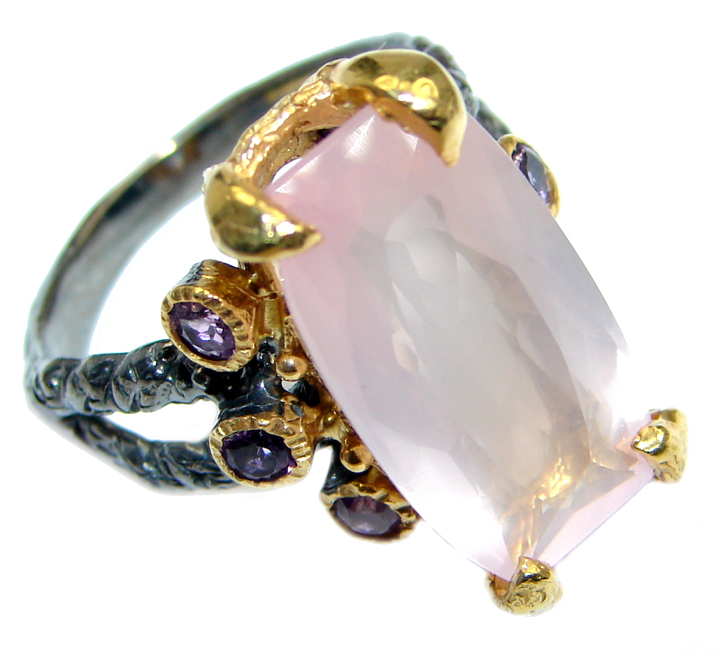 Real Beauty Rose Quartz Gold Plated Over Sterling Silver
