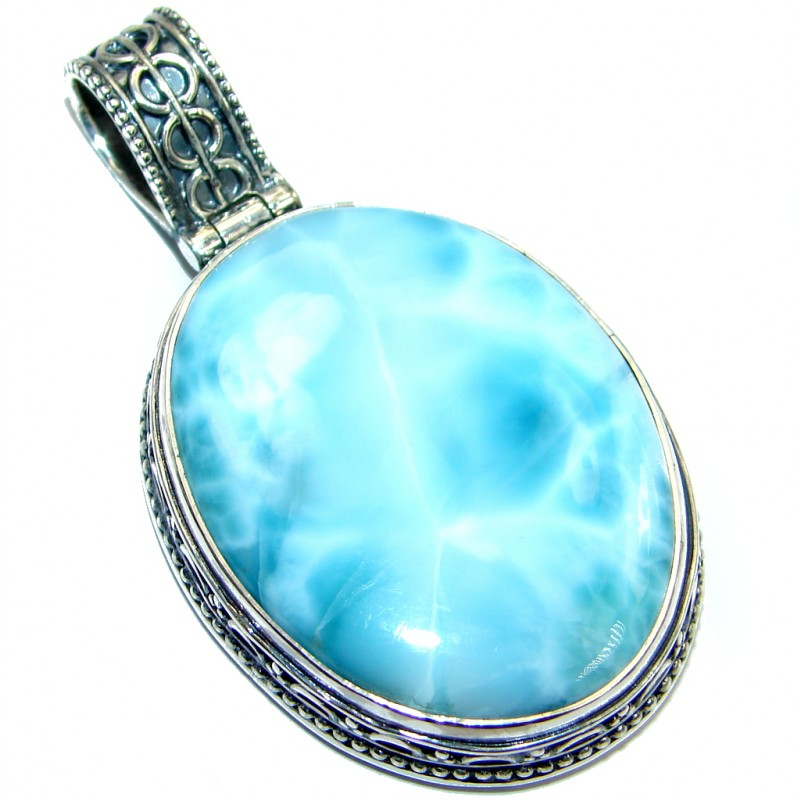 Huge Genuine Larimar Oxidized Sterling Silver handmade Pendant