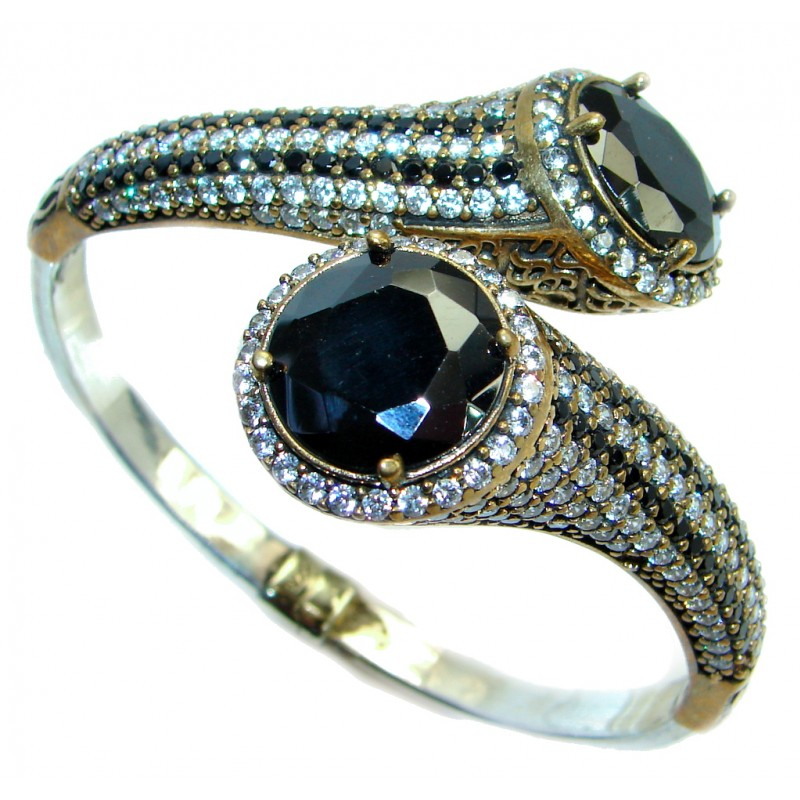 Victorian Style Onyx & White Topaz Sterling Silver Bracelet Cuff