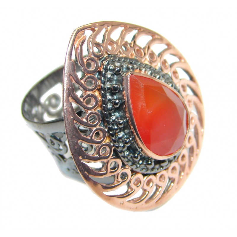 Huge Genuine Carnelian Rose Gold Rhodium plated over Sterling Silver Ring size adjustable