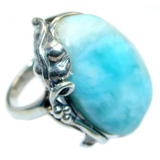 Genuine Larimar Oxidized Sterling Silver handmade Ring size 8 1/2 adjustable