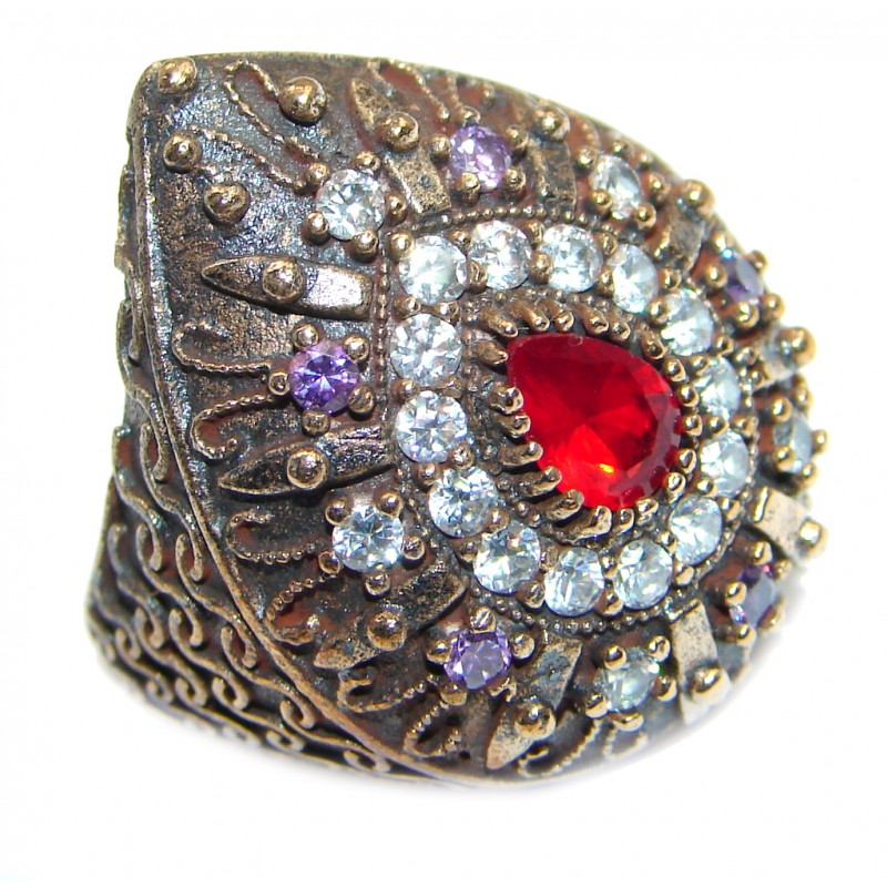 Large Victorian Style created Ruby & White Topaz Sterling Silver ring; s. 7 3/4