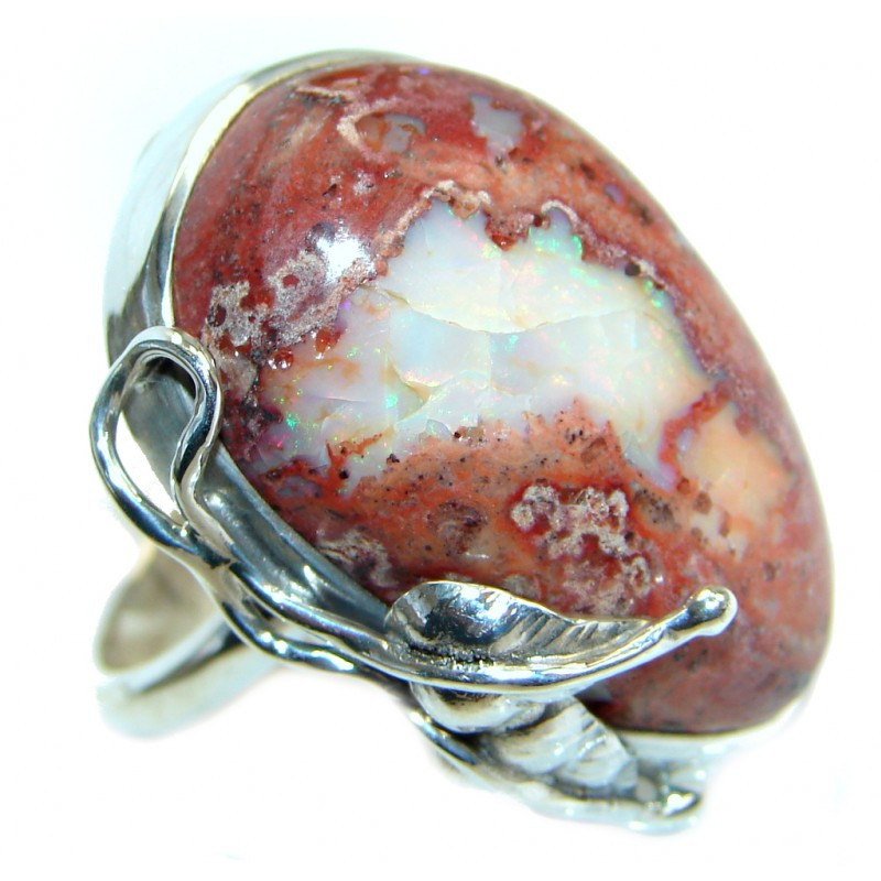 Mexican Fire Opal Oxidized Sterling Silver handmade Ring size 8 1/4 adjustable