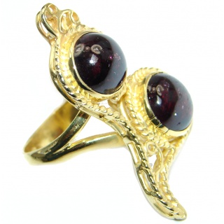 Genuine Rhodolite Garnet Rose Gold plated over Sterling Silver made ring size 9