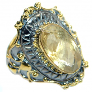 Energazing genuine Citrine Gold plated over Sterling Silver Ring size adjustable