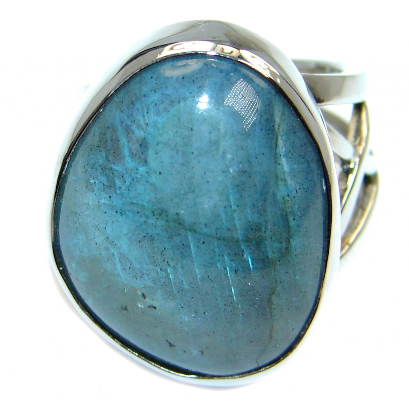Big Blue Fire Labradorite Sterling Silver handmade ring size 7