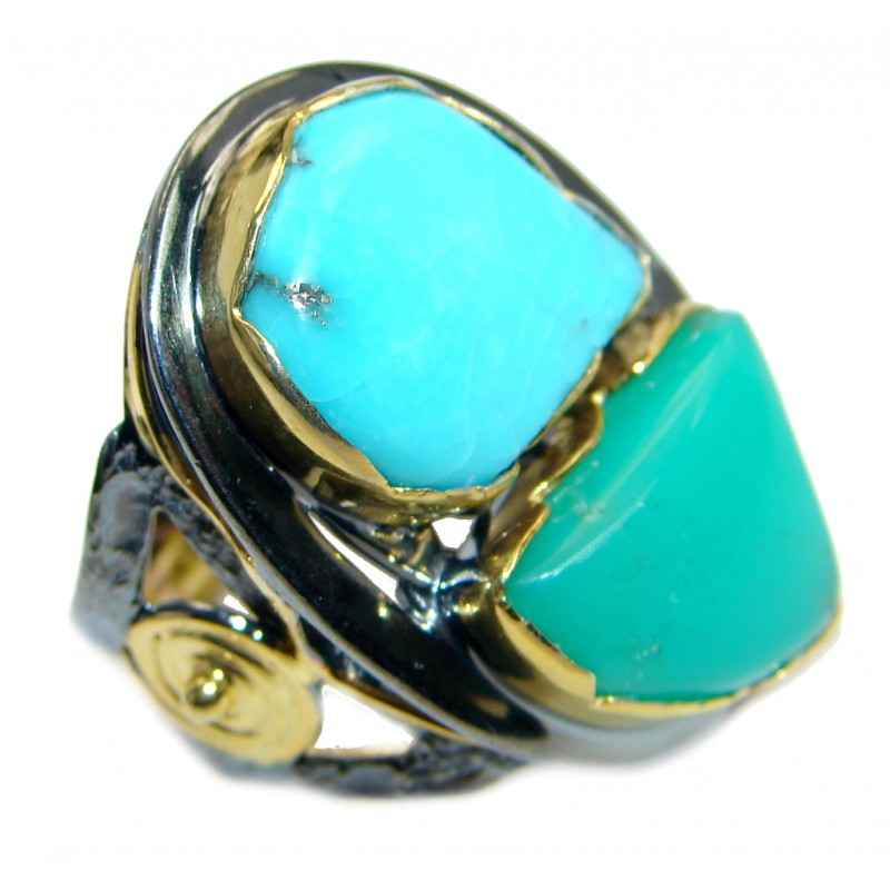 Always Together Sleeping Beauty Turquoise Chrysoprase Gold plated over Sterling Silver handmade ring size 8