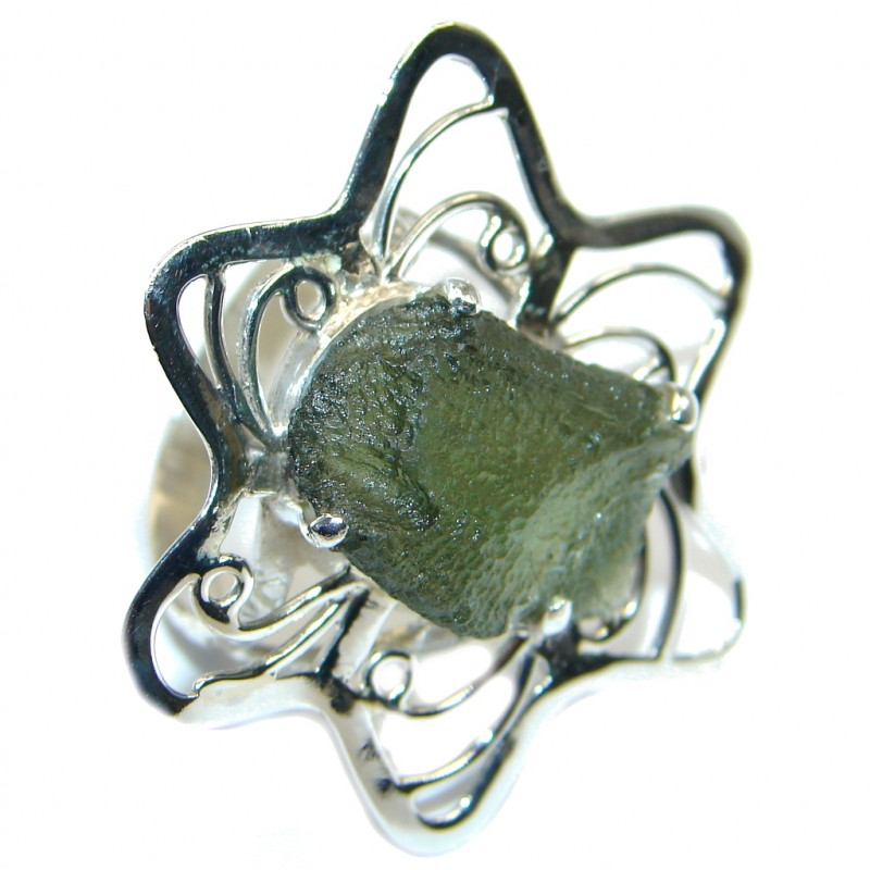 Large Green Moldavite From Czech Republic Sterling Silver Ring s. 8