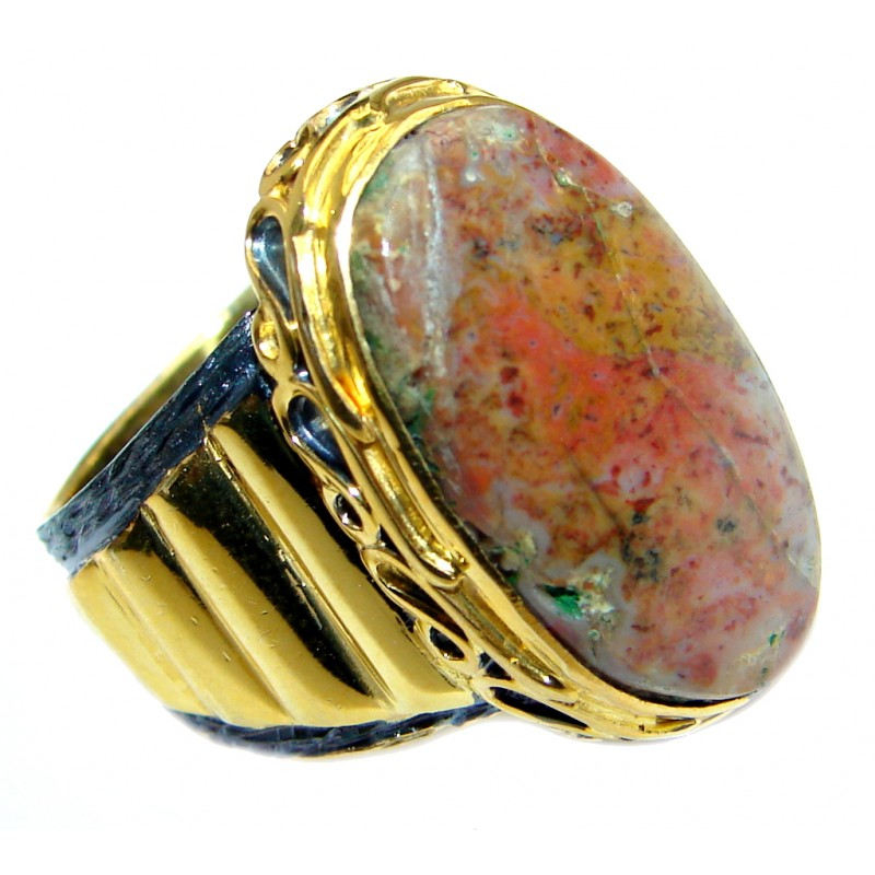 Classy Plume Agate Gold Rhodium Plated over Sterling Silver Ring s. 8