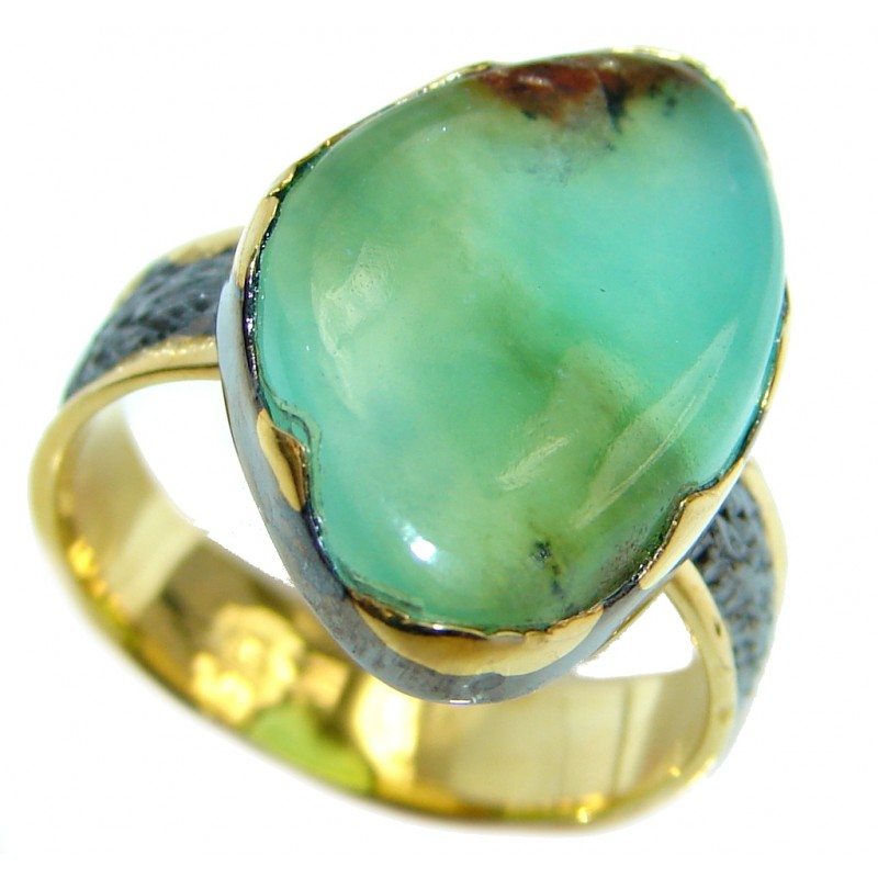Statement Ring Chrysoprase Gold Rhodium Plated over Sterling Silver Ring s. 7