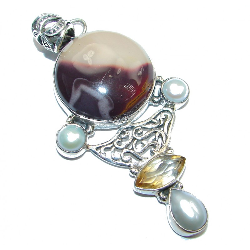 Natural Australian Mookaite Sterling Silver handcrafted Pendant