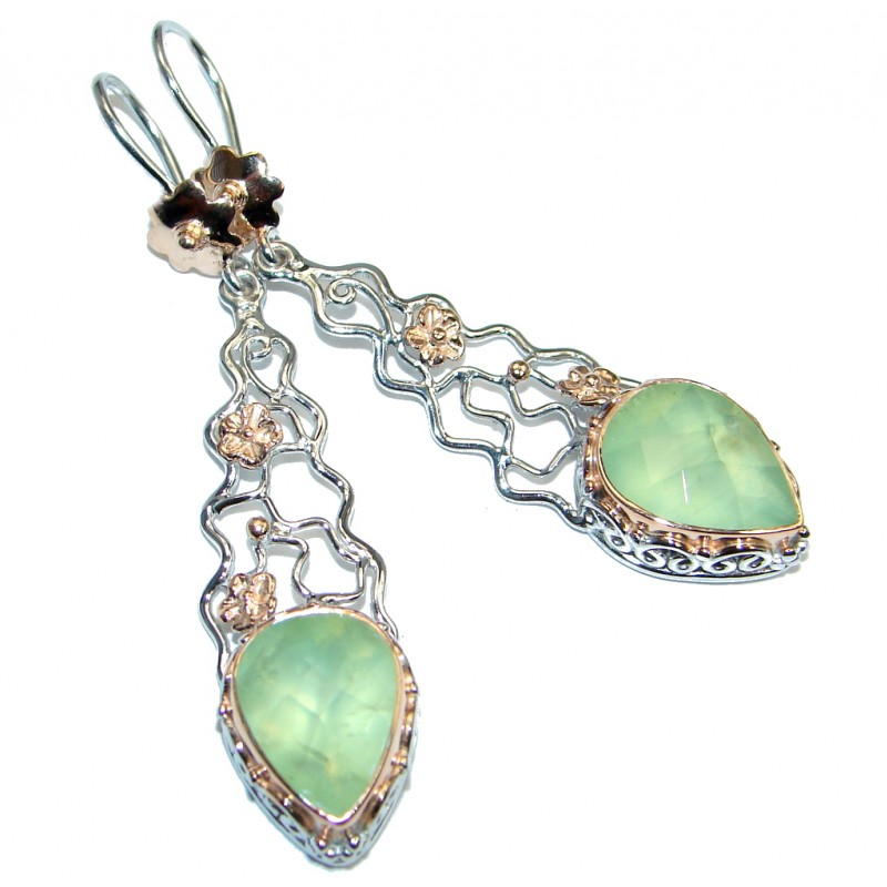 Authentic Moss Prehnite Rose Gold Rhodium plated over Sterling Silver earrings